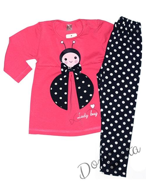 54b152354ec Детски комплект за момиче от блузка с калинка и клин в тъмносиньо на бели  точки